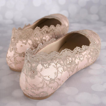 Wedding Shoes, Blush Wedding Shoes, Wedding Shoe Flats, Lace Wedding Shoes, Bling Wedding Shoes, Blush Wedding Ideas, Bridal Lace Shoes