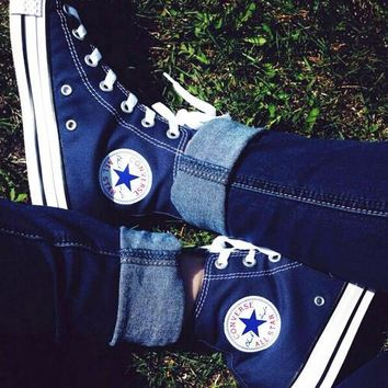 Converse All Star Sneakers canvas shoes for women sports shoes high-top navy blue