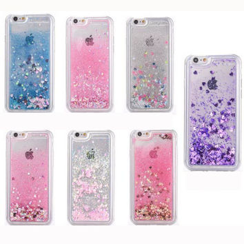 For iPhone 6 6s Plus 5S 5SE Phone Case Liquid Glitter Quicksand Star Heart Case For iphone 6S Clear Crystal Soft Case Cover