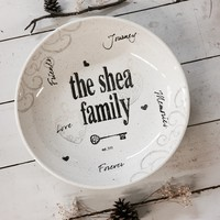 Personalized Heart & Key Family Name Bowl