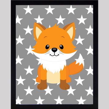 Cute Fox on Gray Stars Print Nursery Decor Baby Print Animals Art CUSTOMIZE YOUR COLORS 8x10 Prints Nursery Decor Art Baby Room Decor Kids