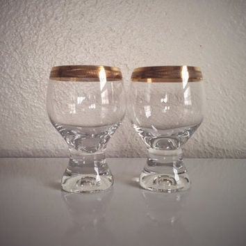 Vintage 60's Gold Rimmed Drinkware with Scroll Design