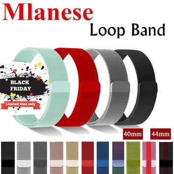 EIMO Milanese Loop Pulseira For Apple Watch band 42mm 44mm Iwatch 4/3/2/1 40mm 38mm Correa Strap link Bracelet Wrist Watchband