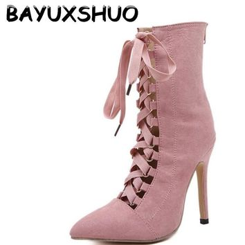 BAYUXSHUO Gladiator High Heels Women Pumps Genova Stiletto Sandal Booties Pointed Toe Strappy Lace Up Pumps Shoes Woman Boots