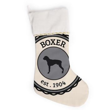 "KESS Original ""Boxer"" Dogs Beige Christmas Stocking"