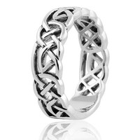 Sterling Silver Woven Celtic Knot Trinity Band Ring - Size 8