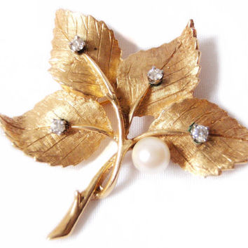 1960s Mid Century Diamond Leaf Brooch, Diamonds, Cultured Pearl, 14k Yellow Gold, Estate Jewelry