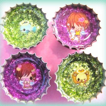 Upcycled Bottle Cap Magnets Resin Handmade Kawaii Fish Lion Angels Green Purple Recycled Repurposed Eco Friendly Reclaimed Ceramic Magnet