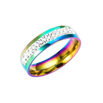 Gay Lesbian Pride Love Same Love Rainbow Flag Rings Lovers' Fashion Rings Couple Jewelry Gift