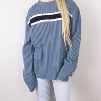 Vintage 90s Grunge Striped Blue Knit Sweater