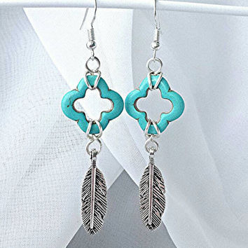 Turquoise earrings, turquoise gemstone, gemstone earrings, silver earrings, feather charm, western earrings, western jewelry, boho
