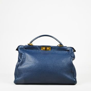 "Fendi Blue ""Roman"" Leather ""Large Selleria Peekaboo"" Shoulder Bag"