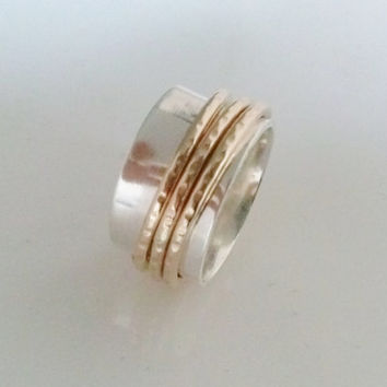 Silver  and Gold 18 K Spinner Ring. Meditation, Anti Stress, Unisex, Wedding. SR109