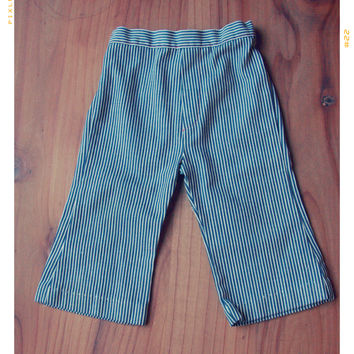 Railroad Stripe Bell Bottom Denims 12mos | VINTAGE