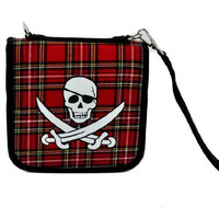 Red Plaid Jolly Rogers Skull CD / DVD / Disc Holder Wallet Case Holds 24 Discs