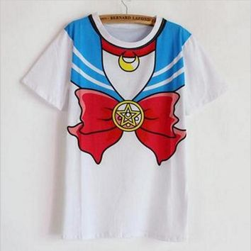 new Hot Sailor moon harajuku t shirt 2017 women cosplay costume top kawaii fake sailor t shirts girl new Free Shipping SALMOPH
