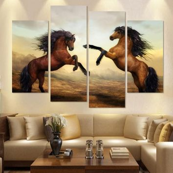 4 PieceS Running Horse Painting Modern Wall Painting Home Wall Decorative Art Picture Paint on Canvas Prints