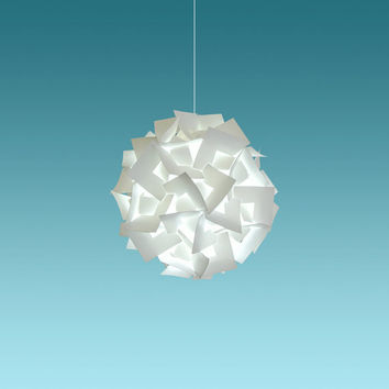 "Akari Small Squares 12"", Cool White Glow,  Hanging Pendant Light Fixture, plug-in swag lamp with bulb, easy to install, hardwire optional"