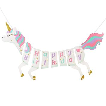 Happy Birthday Unicorns Banner Bunting Hanging Glitter Unicorn DIY Garland Birthday Party Supplies Kid Bedroom Decor Unicornio