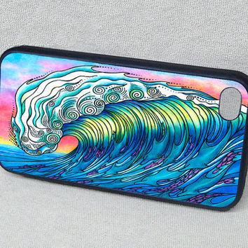 The Wave Surf Art with Dolphins and Fish Rubber iPhone case, cover, iPhone 4, iPhone 4s