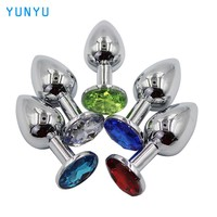 28mm Metal Mini Anal Sex Toys for Women & Men Stainless Steel Anal Butt Plugs + Crystal Jewelry Booty Beads Sex Products