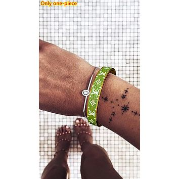LV 2019 new letter printing men and women personality personality wild bracelet green