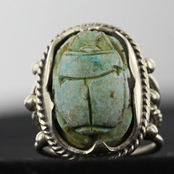 Egyptian Scarab Ring With Sterling Silver Mount