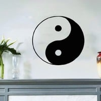 Taoism (Daoism) Symbol Yin and Yang Wall Vinyl Decal Art Sticker Home Modern Stylish Interior Decor for Any Room Smooth and Flat Surfaces Housewares Murals Window Graphic Bedroom Living Room (3655)
