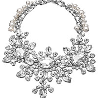 Otazu Silver Pearl and Swarovski Crystal Bib Necklace - Max & Chloe