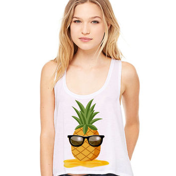 White Cropped Tank Top - Pineapple Man - Summer Outfit Spring Sand Sunglasses Fruit