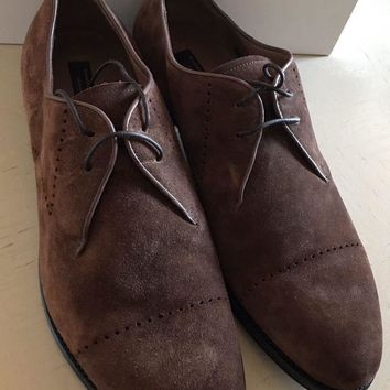 New $1450 Ermenegildo Zegna Couture Suede Shoes Brown 8.5 US Hand made In Italy
