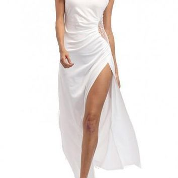 White Patchwork Cut Out Side Slit Maxi Dress