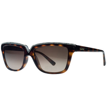 Valentino Dark Havana Rectangular Sunglasses