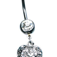 Crystal Studded Dangle Open Heart 14g 316L Stainless Steel Belly Button Ring with 8mm and 5mm Balls(313)
