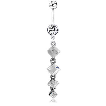 New Charming Dangle Crystal Navel Belly Ring Bling Barbell Button Ring Piercing Body Jewelry = 4804855364
