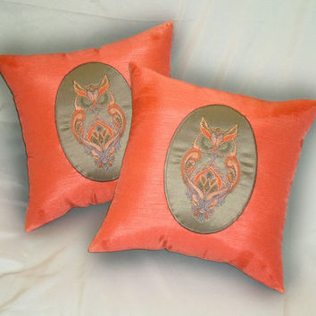 Owl Throw Pillow Set(2) in bright nectarine, pink tangerine colored 14x14 inch silk decorative pillows