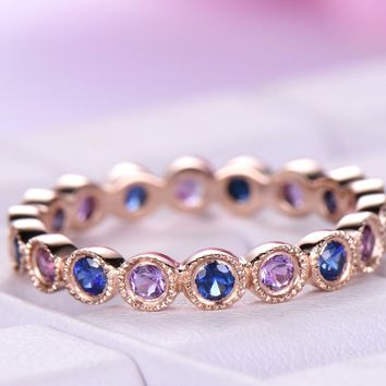 Blue Sapphire Amethyst Wedding Band Eternity Anniversary Ring 14K Rose Gold