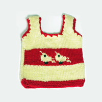 Hand Knitted Baby Sweater vest with Bird pattern