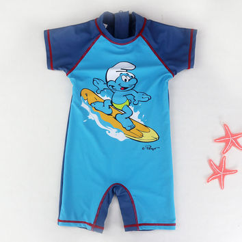 One-Piece Boys Swimwear Short Sleeve Cartoon Pattern Children's Bathing Swimwear Boy Swim Surfing Beach Bathing Suit Swimsuit
