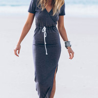 Blue Drawstring Slit Pencil Dress
