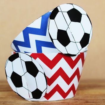 Printable 3D Soccer Ball (football) Sports Party Cupcake Wrapper Set in red and blue chevron patterns INSTANT DOWNLOAD