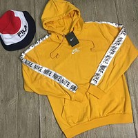 NIKE tide brand casual fashion men and women casual hooded jacket F-HYLFZC Yellow