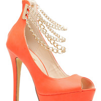 Orange Gold Chained Ankle Strapped Platform Heels