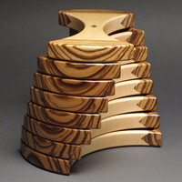 Jewelry Box with Secret Compartments, Zebrawood and curly Maple, 'The Helical Box'