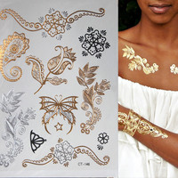 Hot Flash Metallic Waterproof Temporary Tattoo Gold Silver Tatoo Women Henna Flower Taty Design Tattoo Sticker