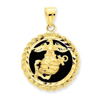 14k Yellow Gold & Onyx Marine Charm