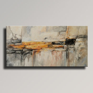 "48"" Large ORIGINAL ABSTRACT Yellow Gray Painting on Canvas Contemporary Abstract  Modern Art wall decor - Unstretched"