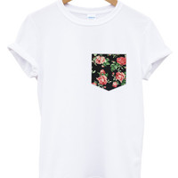 Vintage rose print pocket white t shirt
