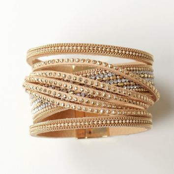 Layered Strap Bracelet Gold.