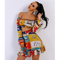 Sexy summer tube top long sleeve female two-piece suit cartoon pattern cute ruffled skirt
